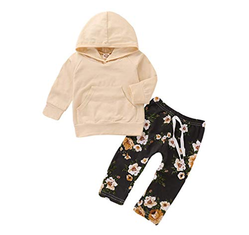 Baby Girl Clothes Long Sleeve Hoodie Top Sweatshirt Floral Pants Outfit Set Autumn Winter Clothing (Beige+Flower, 0-6M)