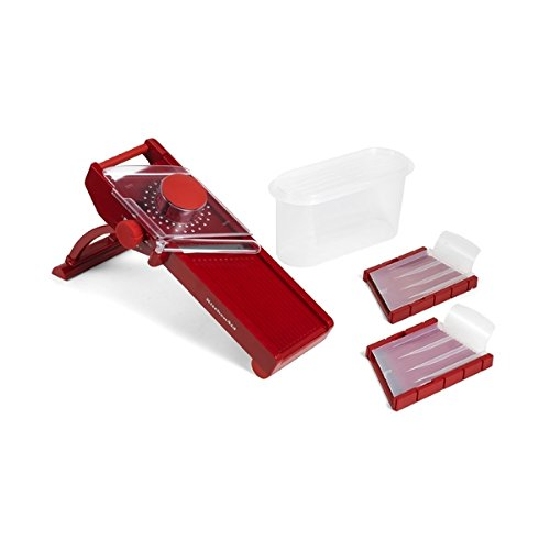 KitchenAid Stainless Dirk Mandoline Food Peeler Cutter Slicer with Retractable Blade Cover- Red