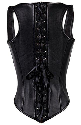 47345edbb0 Y Fashion Womens Faux Leather Underbust Steel Boned Corset Waist Cincher