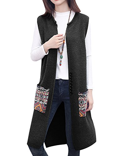 Tanming Women's Sleeveless Open Front Long Knitted Vest Cardigan Coat (One Size, (1 Womens Fleece Vest)