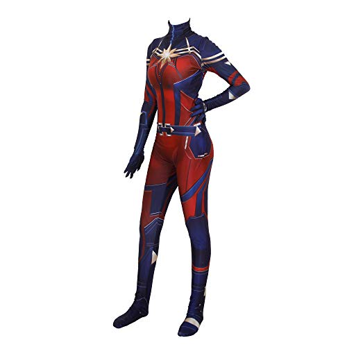 YiranYijiu Captain Superhero Suit Halloween Cosplay Costume Carol Danvers Spandex Bodysuit Zentai (Adult-S, red)
