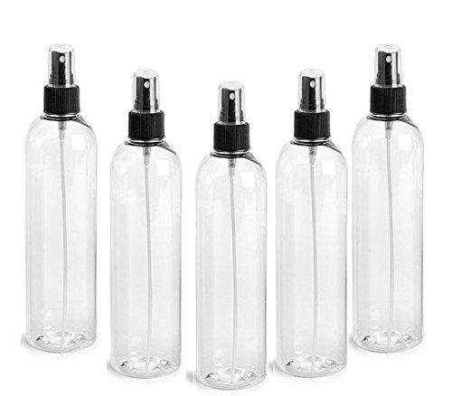 Clear PET Cosmo Plastic Bottle (PBA Free) 4 Oz w/ Black Fine Mist Spray Atomizer (6 Bottle Pack) by Grand Parfums