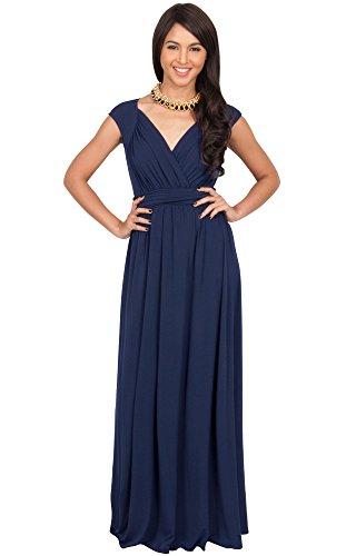 KOH KOH Plus Size Womens Long Cap Short Sleeve Cocktail Evening Sleeveless Bridesmaid Wedding Party Flowy V-Neck Empire Waist Vintage Sexy Gown Gowns Maxi Dress Dresses, Navy Blue 2XL 18-20 -