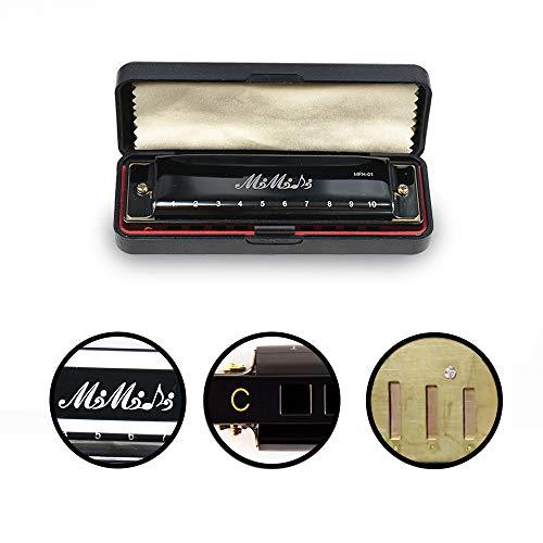 MIMIDI 10 Hole Harmonica, Diatonic Harmonica Key C Harp Mouth Organ Appropriate for Blues, Folk, Jazz and Rock