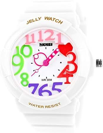 Children's Students Fashion Waterproof Jelly Quartz Sports Watches White