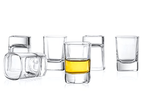 JoyJolt 6-Pack Heavy Base Shot Glass Set, 2-Ounce Shot ()