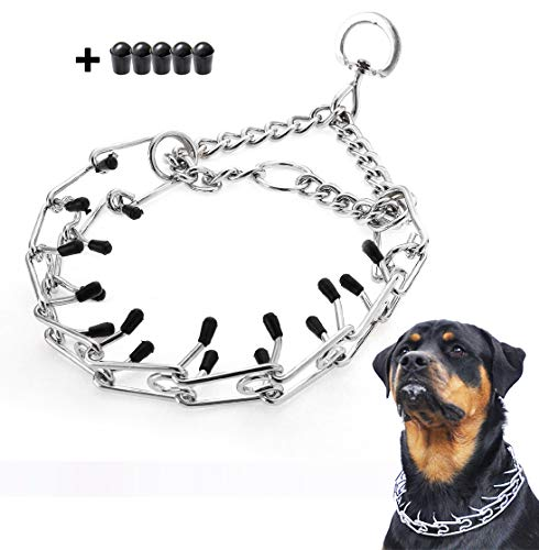 Mayerzon Dog Prong Collar, Classic Stainless Steel Choke Pinch Dog Chain Collar with Comfort Tips, 5 (M-19.7