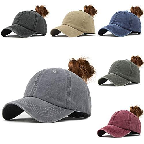 KCPer Ponytail Vintage Sports Glitter Messy High Bun Hat Ponycaps Adjustable Cotton and Mesh Trucker Baseball Cap Visor Cap Unisex Hat (Gray)