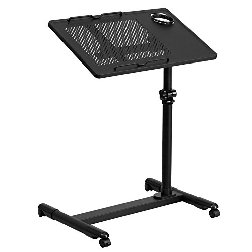 Black Adjustable Height Steel Mobile Computer Desk (Large Image)