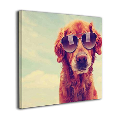 (Yanghl Canvas Wall Art Prints A Cute Golden Retriever Toned with A Retro Modern Decorative Artwork for Wall Decor and Home Decor Framed Ready to Hang 12