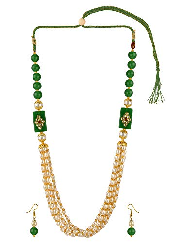 Efulgenz Indian Bollywood Multi Layered Green Faux Pearl Beads Bridal Strand Necklace Earrings Wedding Jewelry Set