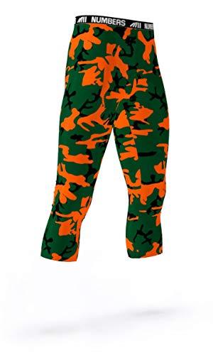Numbers Athletics 3/4 Length Tights- Python Black (Orange, Green, Black) Boys Mens Girls Womens Basketball Football Compression Tights Sports Pants Baselayer Running Leggings to Match Uniforms
