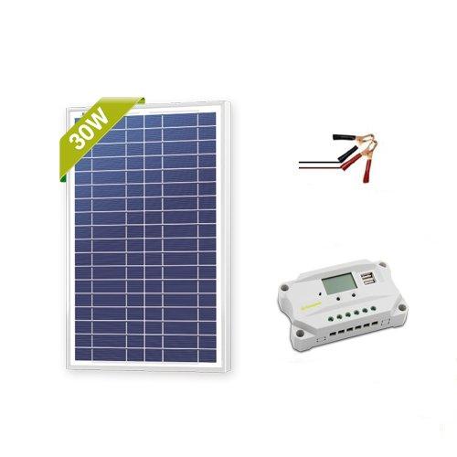 Newpowa 30w Watt 12v Solar Panel + PWM 10A 12v Smart Chargin