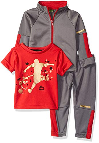 RBX Baby Boys Tricot Jacket, Tee and Pant Set, Castle Rock Grey/red, 24M ()