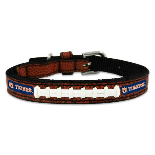 NCAA Auburn Tigers Classic Leather Football Collar, Toy Auburn Tigers Leather Football