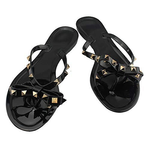 utop Women's Rivets Bowtie Flip Flops Jelly Thong Sandal Rubber Flat Slipper Summer Beach Rain Shoes Womens Gold Rivet Studded Bow Jelly Thong Flip Flop Sandals (US6.5=EU38=24CM, Black)