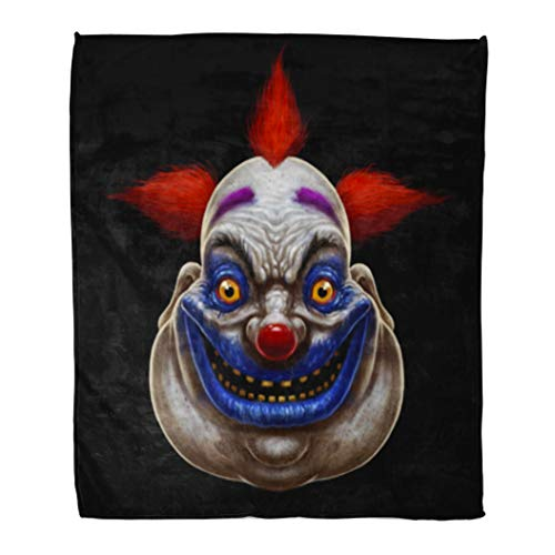 Golee Throw Blanket Red Evil Scary Smiling Fat Clown Halloween Circus Character 50x60 Inches Warm Fuzzy Soft Blanket for Bed Sofa -