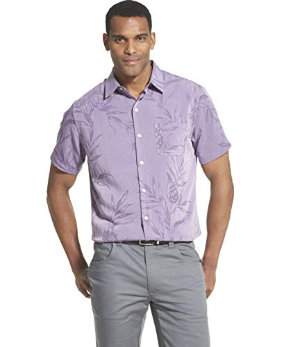 Van Heusen Men's Air Tropical Short Sleeve Button Down Poly Rayon Shirt, Purple Lisianthus, Small