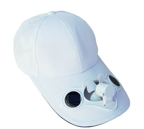 Solaration174; 7001 White Fan Baseball Golf Hat (Solar Cooling Cap Fan)