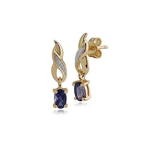 Gemondo Iolite Boucles D'oreilles, Jaune 9ct Or 0.38ct Iolite & Diamant Classique Boucles D'oreilles Goutte