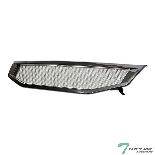 Topline Autopart Black T-R Aluminum Mesh Front Hood Bumper Grill Grille ABS For 11-12 Honda Accord 4 Door Sedan