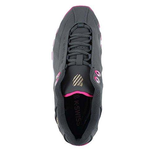 K-Swiss Women's ST329 CMF Rainbow Cross-Trainer Shoe, Charcoal/Neon Pink, 8.5 M US