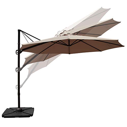 PATIORAMA Commerical 10 Feet Octagon Aluminum Offset Cantilever Outdoor Patio Umbrella with 360 Degree Swiveling Canopy and Steel Cross Base, Beige