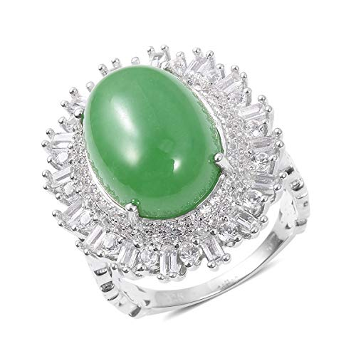 (Cocktail Ring 925 Sterling Silver Green Jade White Topaz Jewelry for Women Size 6 )