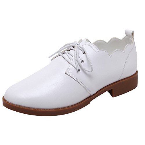 Mee Shoes Women's Charm Lace up Round Toe Court Shoes White oyiGBKj7Lq