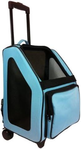 Petote Rio Pet Carrier Bag on Wheels, Black Trim Turquoise Blue