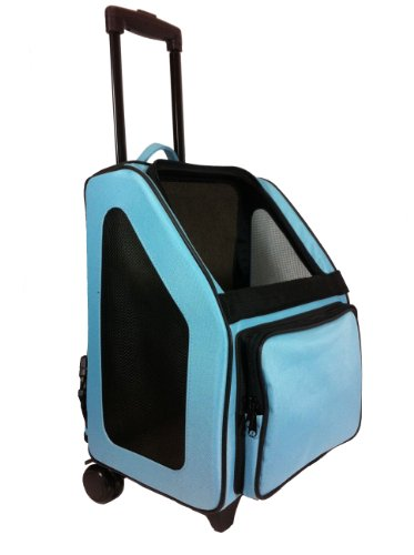 Petote Rio Pet Carrier Bag on Wheels, Black Trim/Turquoise Blue