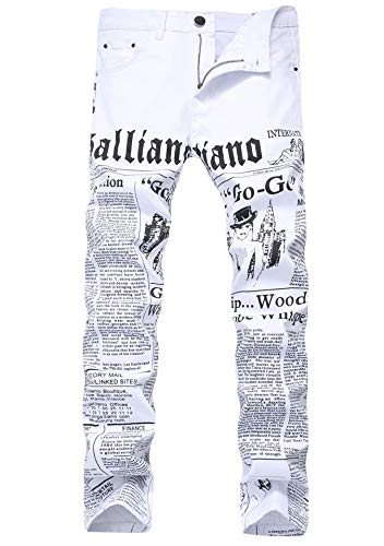 FREDD MARSHALL Men's White Slim Fit Letter Printed Straight Leg Mid Waist Stretch Fashion Long Jeans Pants ()