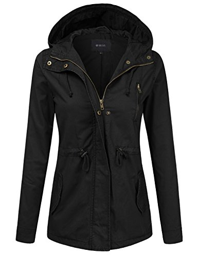(DRESSIS Women's Lightweight Military Anorak Hooded Jacket Black S)