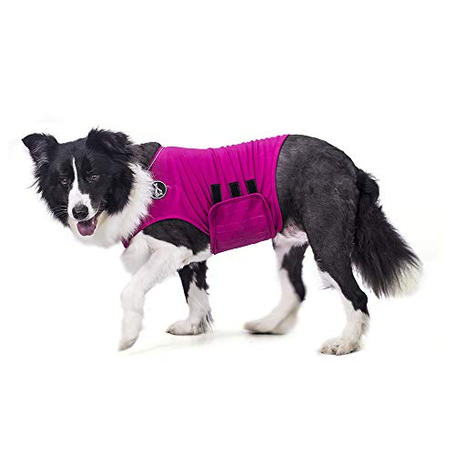 warmpet Dog Anxiety Relief Coat Comfort Keep Clam Wrap Vest Thunder Shirt for XS Small Medium Large XL Dogs,Navy Blue Gray Rose-Red Camouflage (L, Rose-Red)