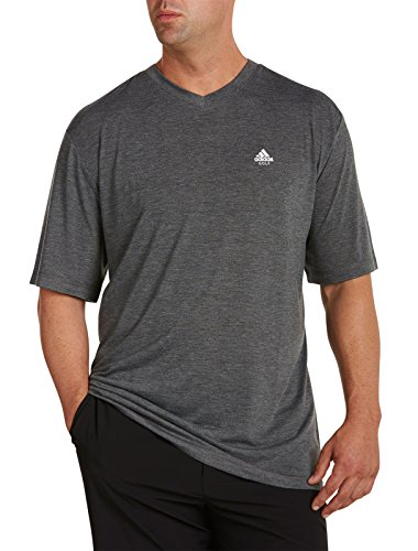 adidas Big & Tall Golf V-Neck Performance T-Shirt (6XL, Charcoal Heather) - Adidas Lightweight T-shirt