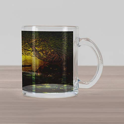Ambesonne Unicorn Glass Mug, Enchanted Forest Fantasy Magical Willow Trees Wildflowers Woodland Animal Folklore, Printed Clear Glass Coffee Mug Cup for Beverages Water Tea Drinks, Green White
