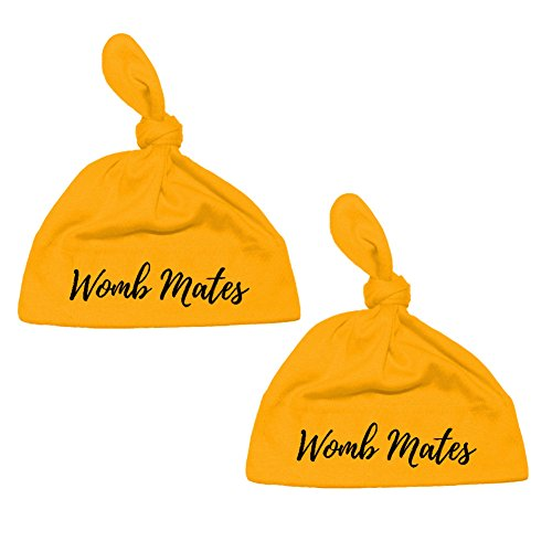 Hat Sizing Chart (We Match! Unisex-Baby Twin Set 2-Pack Womb Mates Premium Knotted Cap Hats (Gold))