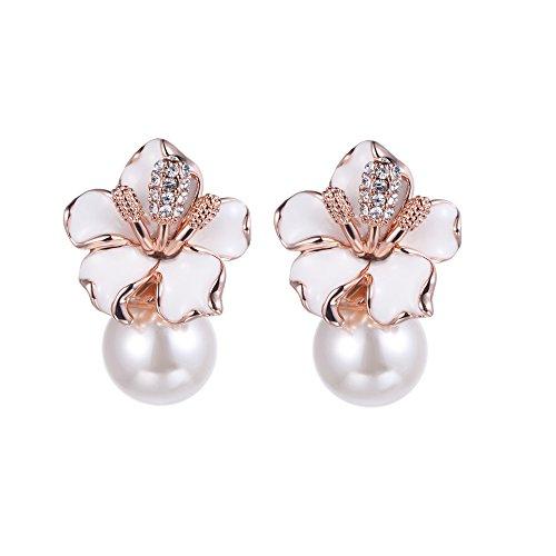 Dangle Bead Engagement Ring (XZP Pearl Flower Earrings Dangle 925 Silver Pin Rose Gold Wedding Engagement Flower Stud Earrings for Women)