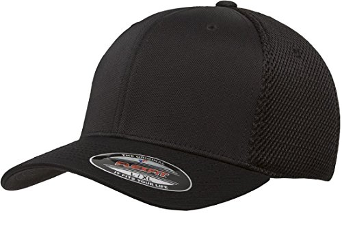 1 Fit New Hat Cap - Flexfit 6533 Ultrafibre & Airmesh Fitted Cap, Black - Small/Medium
