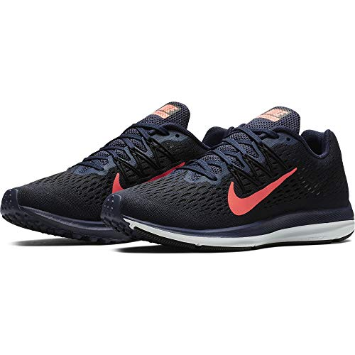 (Nike Women's Air Zoom Winflo 5 Running Shoe, Blackened Blue/Flash Crimson-Black, 8)