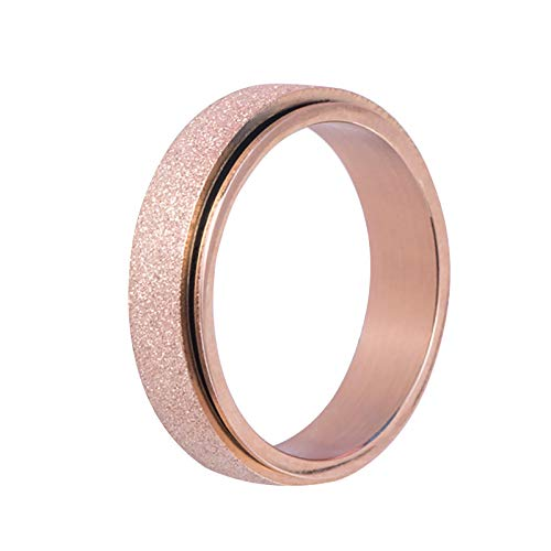 Colorful Ring, The Latest Fashion Titanium Steel Frosted Rotating Ring for Young People(golden_5,7)