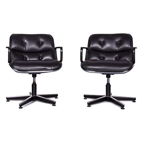 Knoll International Pollock Executive Chair Designer Leather Armchair Set Black Genuine Leather Chair