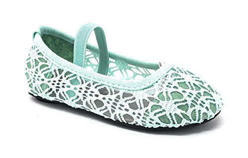 Simply Petals Little Girl's Toddlers Breathable Crochet Cute Lace Ballet Flat in Mint Size: 8