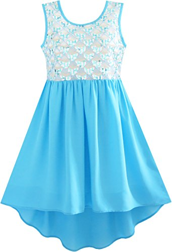 JQ53 Girls Dress Glitter Hi-lo Chiffon Dress Party Birthday Princess Size 8,Sky Blue,