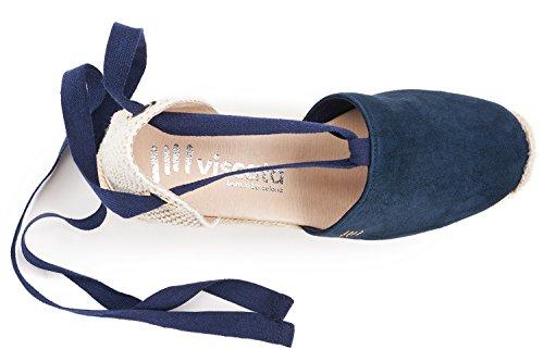 Fosca Cuneo cravatta Spagna Viscata Realizzato Classico In 5 Caviglia Espadrillas Morbido Punta 2 Scamosciata Chiusa Tallone Marina dnpnC