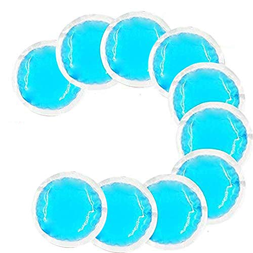 Round Reusable Gel Ice Packs with Cloth Backing for Hot or Cold Therapy - Great for: Tired Eyes, Wisdom Teeth, Breastfeeding, Headaches, Kids Injuries, Sinus Relief and More - (Blue -10 Packs)