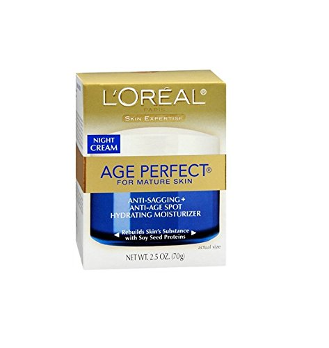 L'Oreal Skin Expertise Night Creme Age Perfect for Mature skin Anti-Sagging And Anti-Age Spot Hydrating Moisturizer Cream with Soy Seed Proteins, 2.5 (3 Pack)