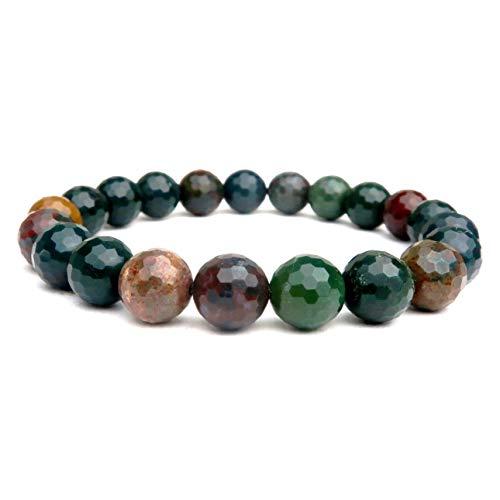 SatinCrystals Bloodstone Bracelet 7mm Boutique Faceted Dark Green Red Round Stone Stretch Handmade Sparkling B06 (5.5