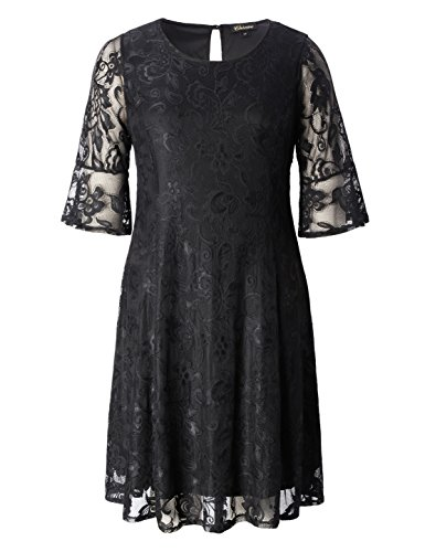 Flounce Dress Lace (Chicwe Women's Plus Size Stretch Quality Lace Skater Dress - Work and Casual Dress Black 3X)