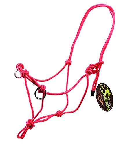 Side Pull Rope Halters with Nickle Plated Rings - Different Colors - By Southwestern Equine (Horse, Pink)